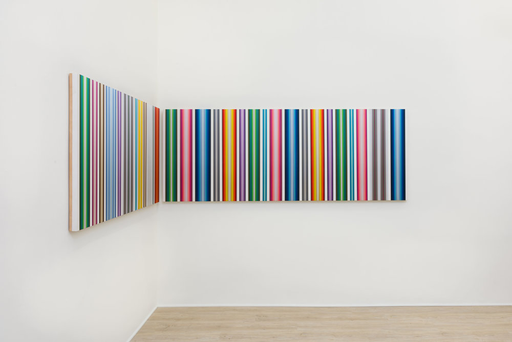 Untitled (Multi-colored column diptych), 2016 oil, single-strand rayon and metallic thread on two wood panels 91,5 x 371 cm - 36 1/32 x 146 inches