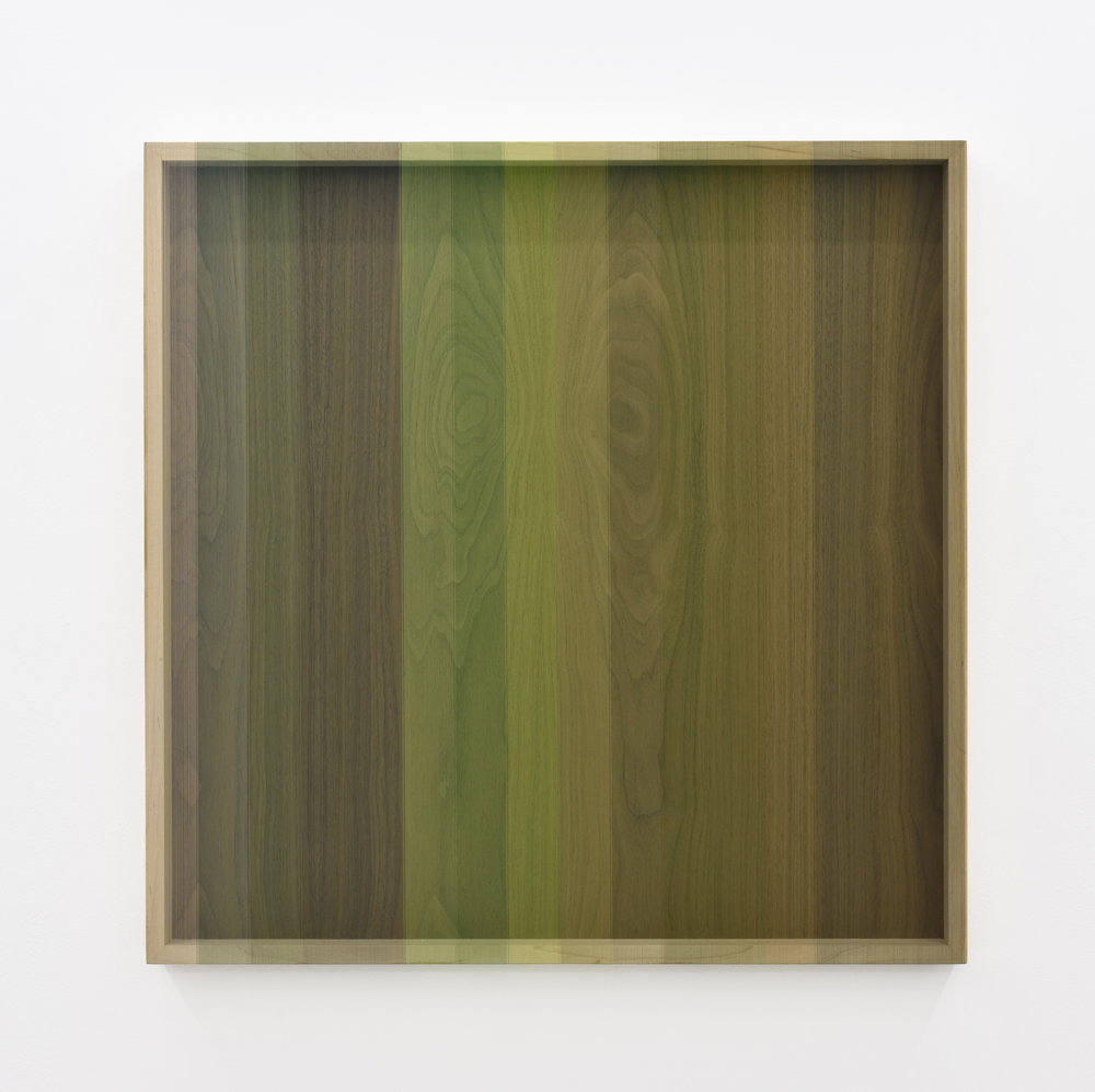 Untitled (Green progression hovering thread), 2013 rayon thread on walnut 78,7 x 78,7 cm - 31 x 31 inches