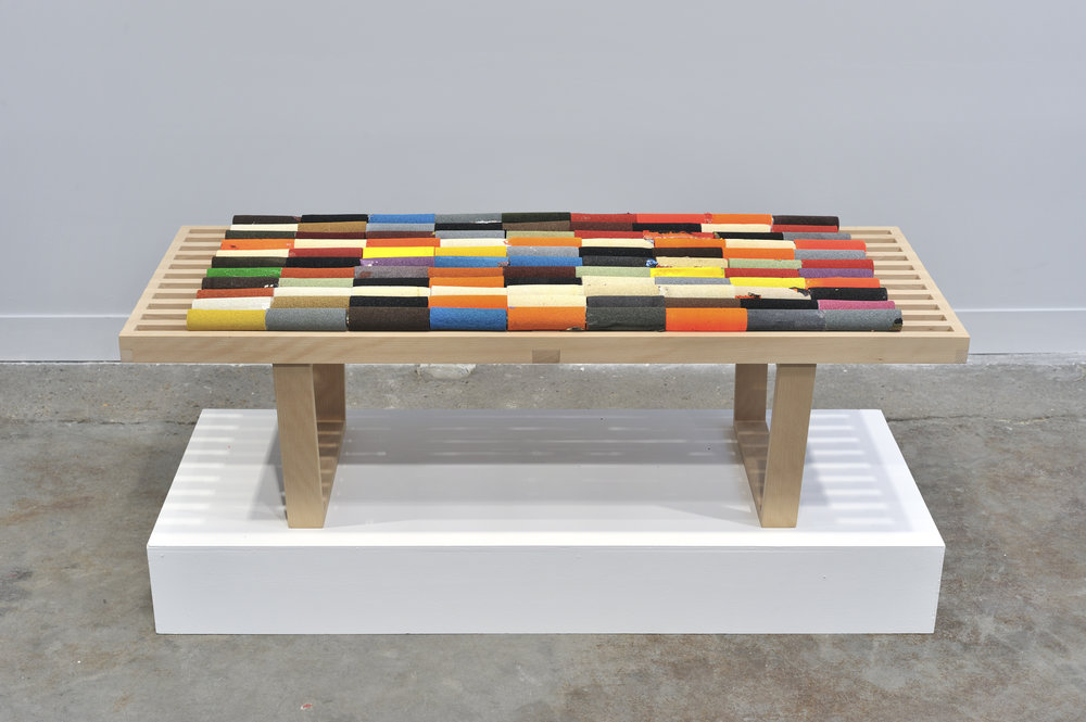 The First 99 Colours of The Year, 2011 wood, used paint rollers 35,5 x 47 x 122 cm - 13 x 18 1/2 x 48 1/32 inches