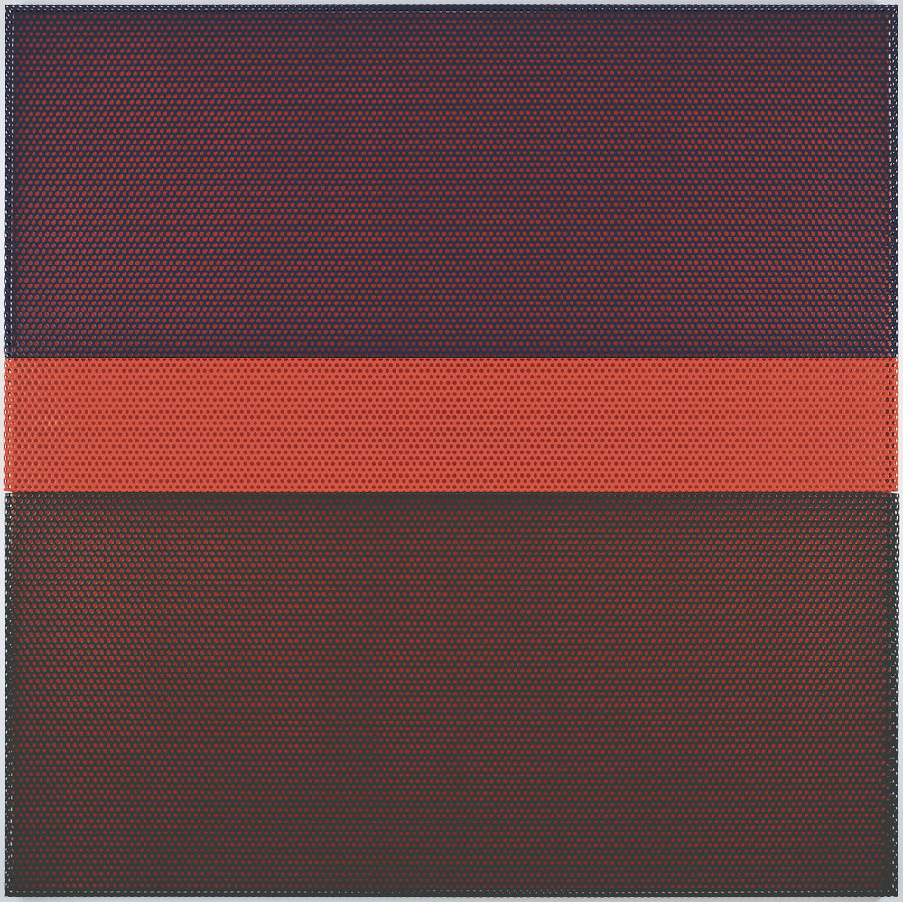 Untitled (Sunset), 2009 aluminum powdercoated (3 parts), acrylic wall painting 200 x 200 cm - 78 3/4 x 78 3/4 inches