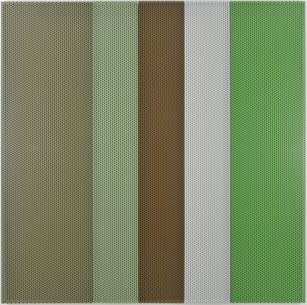 Untitled (Forest), 2009 aluminum powdercoated (5 parts), acrylic wall painting 200 x 200 cm - 78 3/4 x 78 3/4 inches