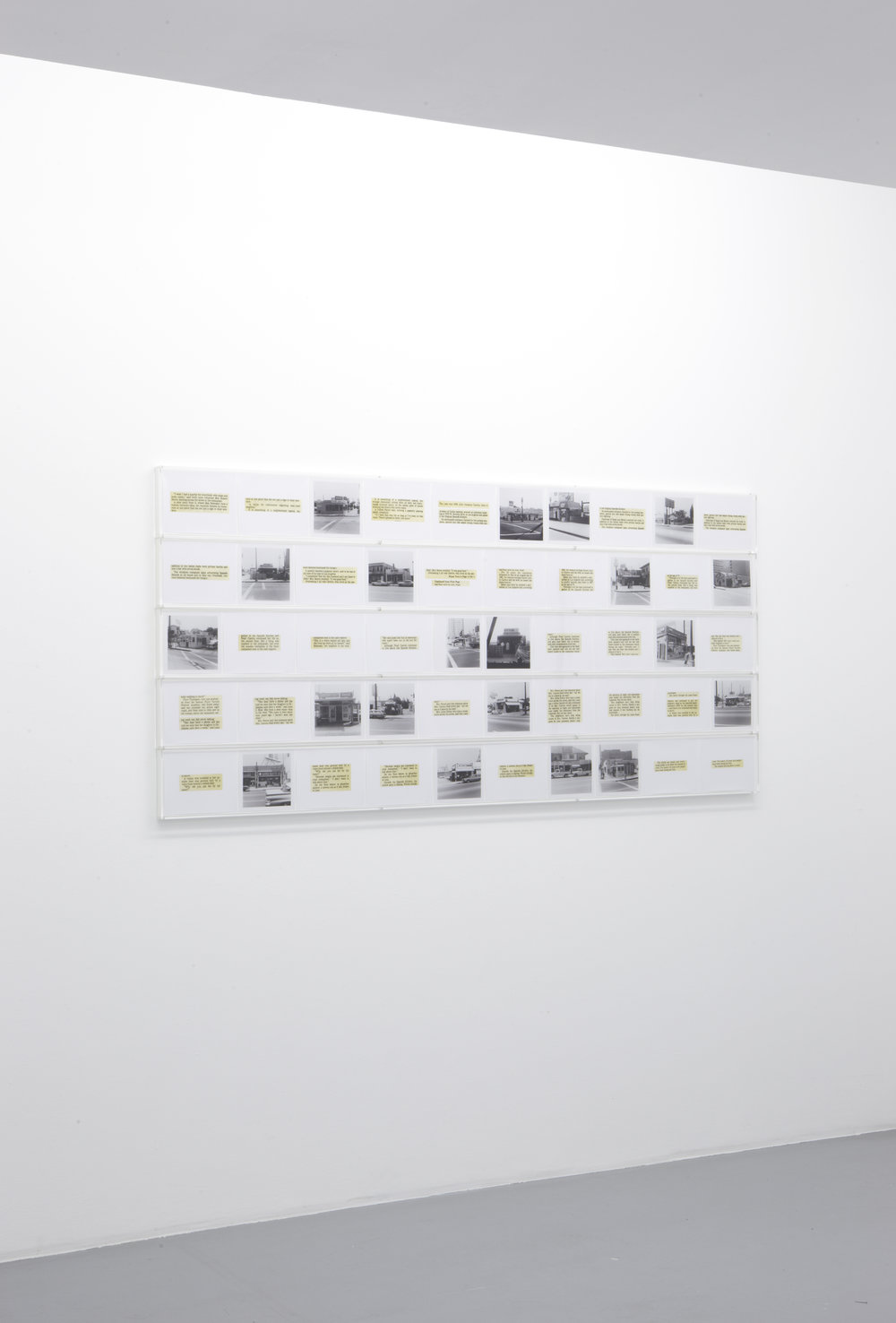 Allen Ruppersberg, Once Upon A Time in Southern California (LA in the 70s), 2010 50 lightjet prints, 5 plexiglas boxes ed. 2/3 92,5 x 197 cm - 36 3/8 x 77 1/2 inches
