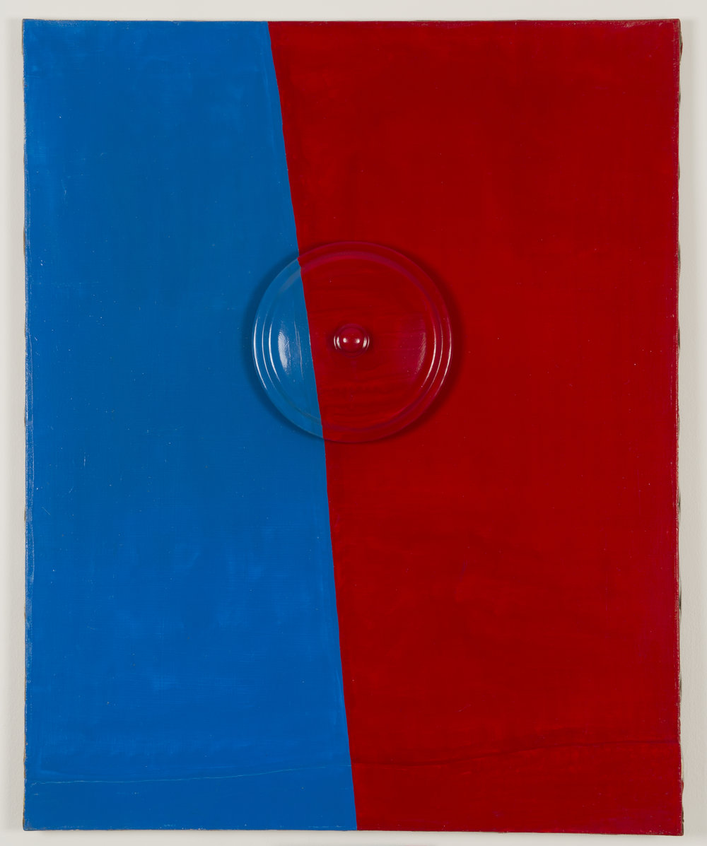 Guy de Cointet, Untitled, c. 1965 acrylic paint on canvas, stretcher, glued objects (cover) 100 x 81 cm - 39 3/8 x 31 7/8 inches