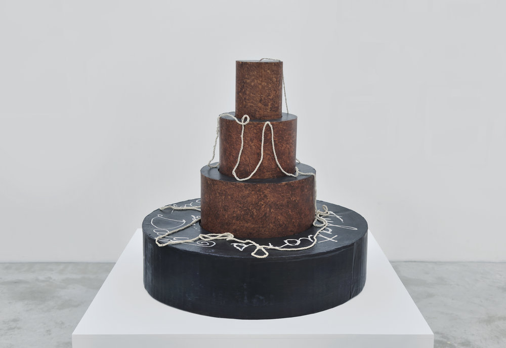 Mike Kelley, Congratulations on Your... Big Day, 1980 acrylic on paper, cardboard, rope and staples diam. 56 cm - 22 inches
