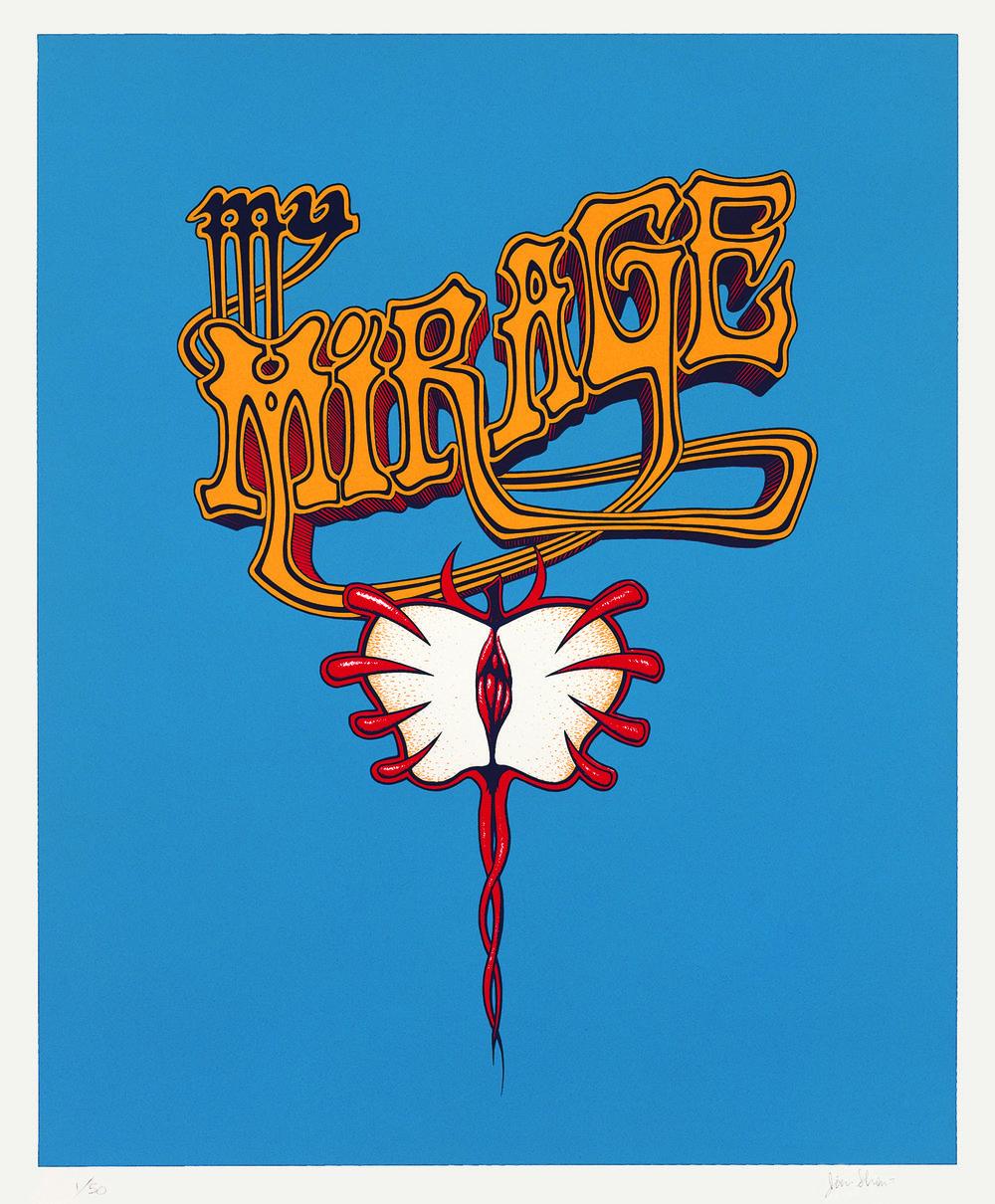 Jim Shaw, My Mirage Logo III, 1997 silkscreen print on paper. edition 55,5 x 47,5 cm - 21 7/8 x 18 3/4 inches (framed)