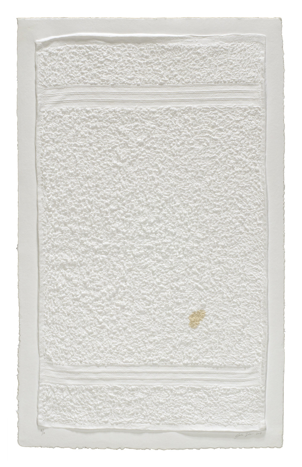 Analia Saban , Three Stripe Hand Towel (with Stain), 2014 Mixografia monoprint on handmade paper ed. 13/18 78,5 x 50,5 cm - 30 7/8 x 19 7/8 inches (framed)