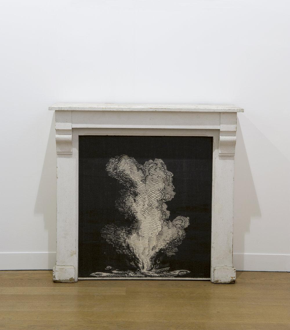 Yann Sérandour, Fire Displacement #4, 2013 painted wooden mantelpiece, UV print on wood 100 x 106 x 31 cm - 39 3/8 x 41 3/4 x 12 1/4 inches