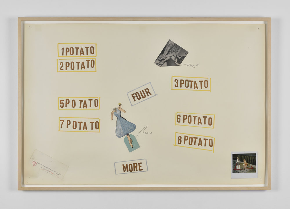 Lawrence Weiner, 1 POTATO 2 POTATO, c.1990 drawing, collage 65 x 96 x 3,5 cm - 25 5/8 x 37 3/4 x 1 3/8 inches (framed)