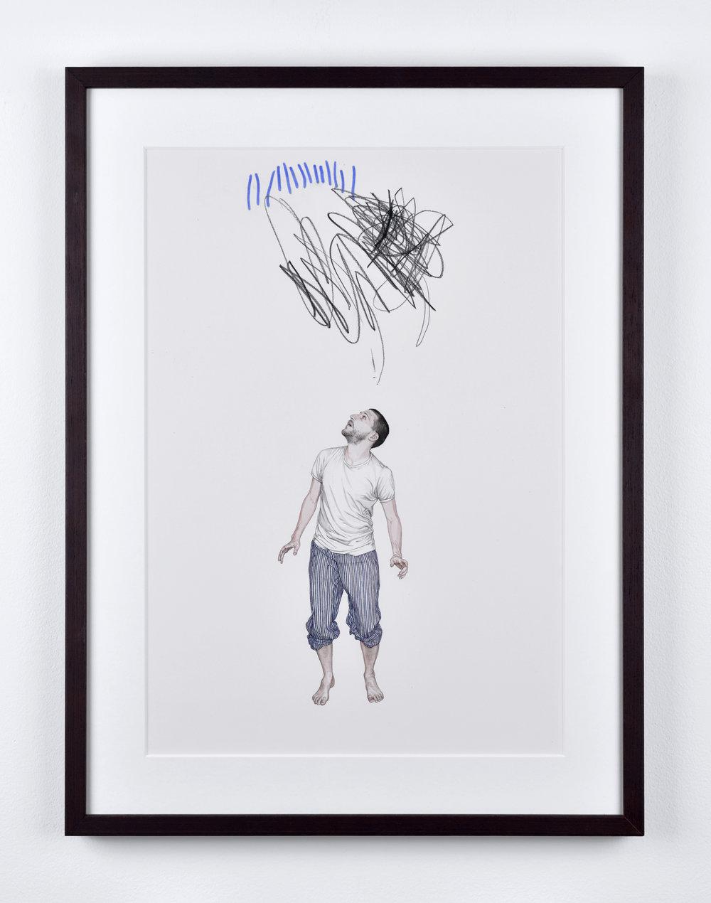 Fabien Mérelle, Papa, sous la pluie et l'orage, 2015 ink on paper 46,5 x 32 cm - 18 1/4 x 12 1/2 inches