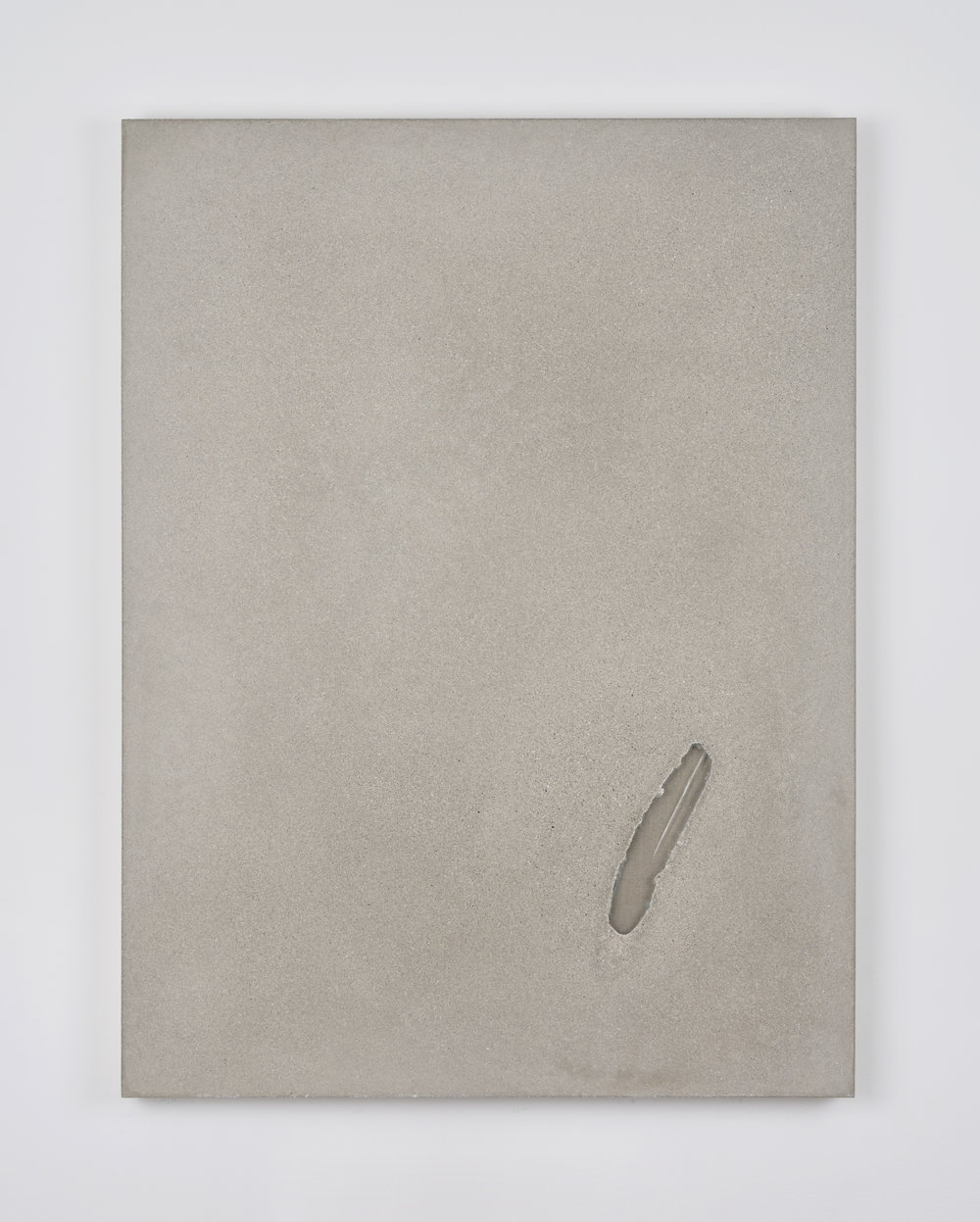 Analia Saban, Slab Foundation with Glass Opening #3, 2015 glass and concrete on canvas 101,5 x 76 x 6 cm - 40 x 30 x 2 1/4 inches