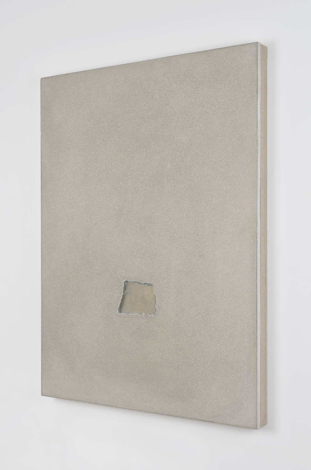 Analia Saban, Slab Foundation with Glass Opening #2, 2015 glass and concrete on canvas 101,5 x 76 x 6 cm - 40 x 30 x 2 1/4 inches