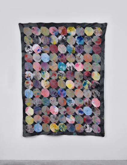 Amanda Ross-Ho, Rag Quilt #2, 2015 studio rags, acrylic and latex paint, thread. Sewn by Gina Ross 185,4 x 134,6 cm - 73 x 53 inches