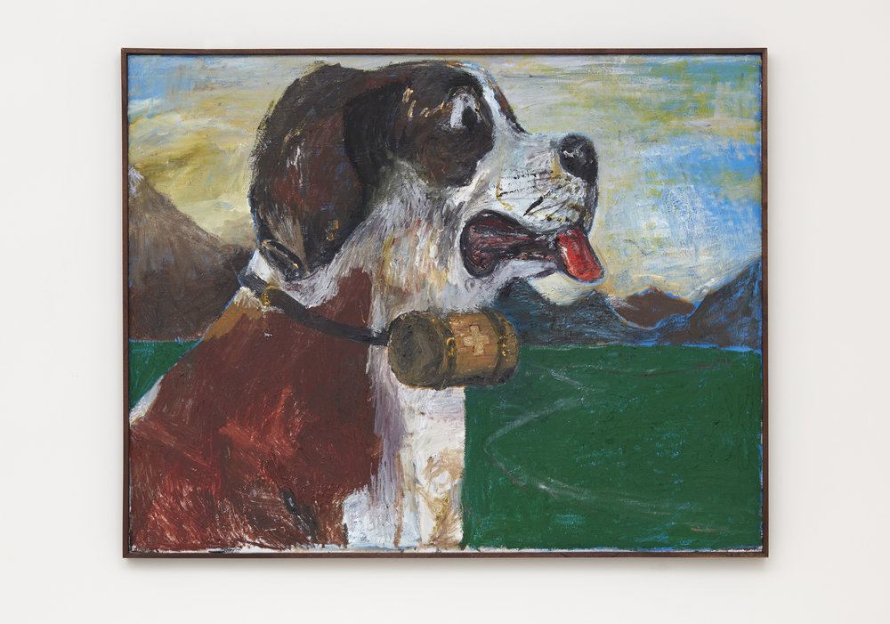 Self Portrait As A St. Bernard (worried), 2017 oil and acrylic on canvas in artist made walnut frame 124,5 x 155 cm - 49 1/32 x 61 1/32 inches