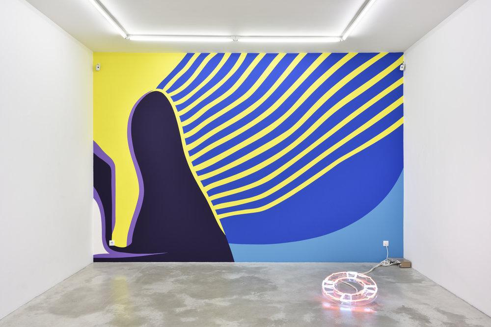 Florian Viel, Imperator + Baywatch, 2017 2 individual works. wall painting; neon, transformer, plexiglass variable dimensions; 65 x 65 cm - 26 x 26 inches © Florian Viel & Tropicool Company
