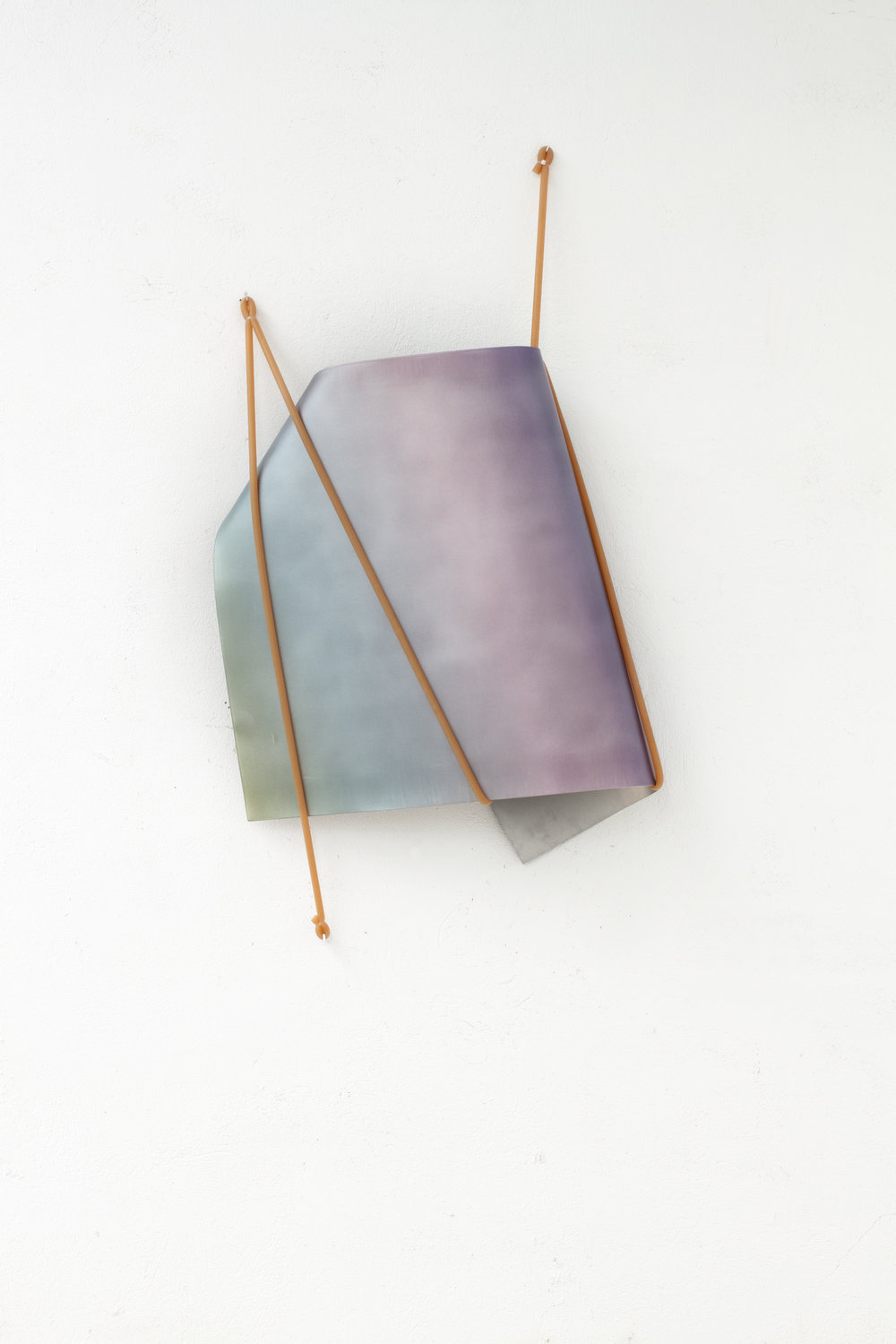 Inma Femenía, In Tension no.07, 2017 UV print, manipulated aluminum and natural rubber 123 x 70 x 18 cm - 48 1/2 x 27 1/2 x 7 inches