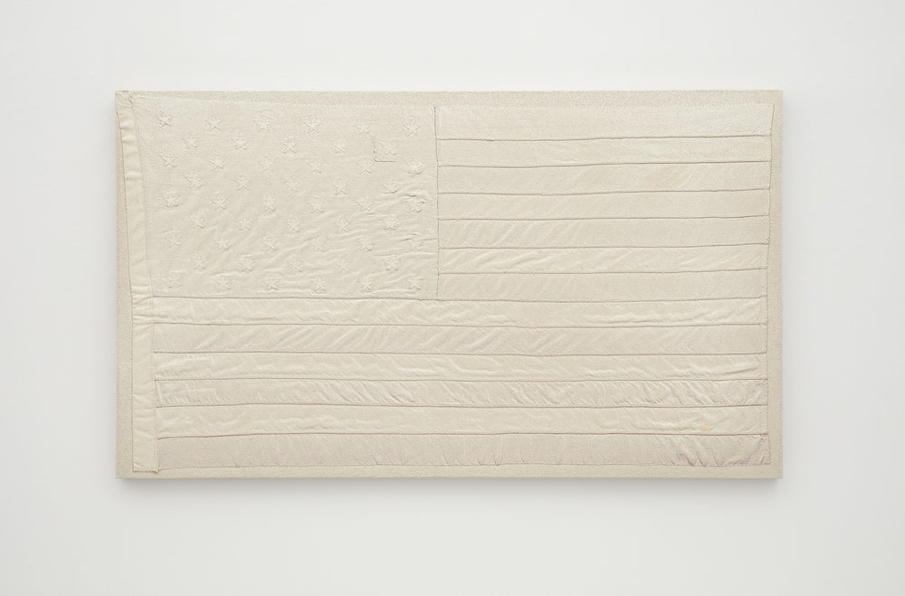 AA Bronson, White Flag 10, 2015 rabbit skin glue, champagne chalk, raw honey on wool and cotton on linen 89 x 115 cm - 35 x 45 9/32 inches