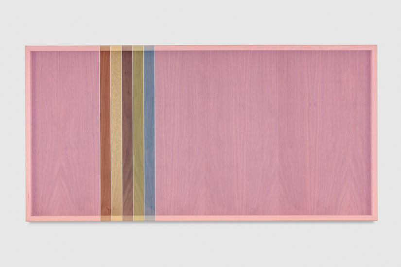 Untitled (Pink Hovering Thread), 2017 single-strand rayon and metallic thread on walnut 61 x 122 cm - 24 x 48 inches