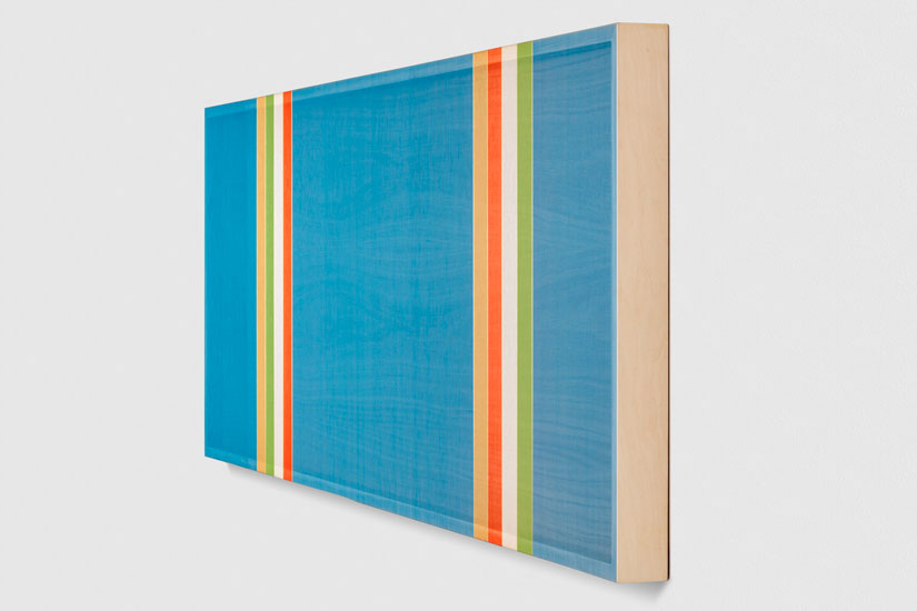 Untitled (Steel Blue Hovering Thread), 2017 single-strand rayon and metallic thread on vertical grain oak 61 x 183 cm - 24 x 72 inches