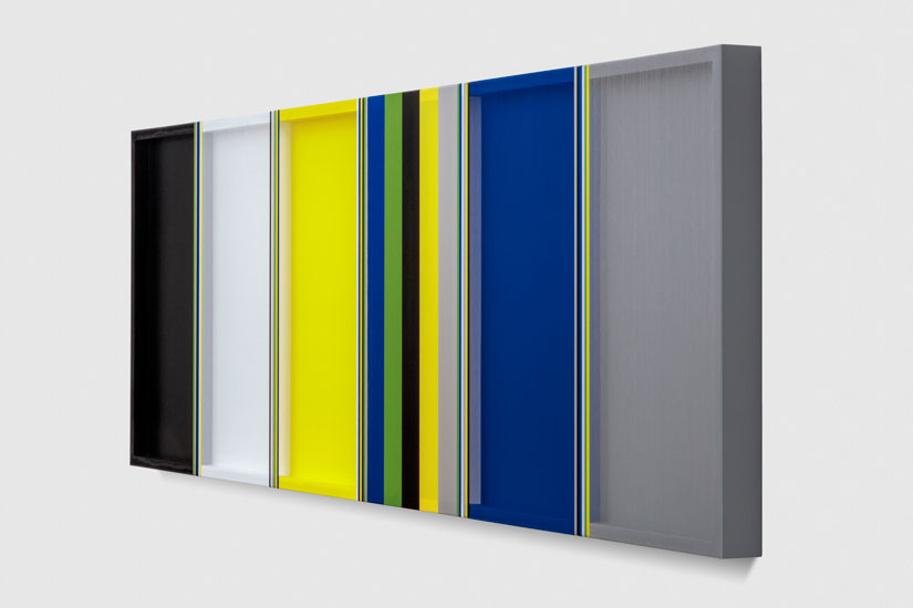 Untitled (Black, Grey, Blue and Yellow Hovering Thread), 2017 single-strand rayon and oil on vertical grain oak 61 x 183 cm - 24 x 72 inches