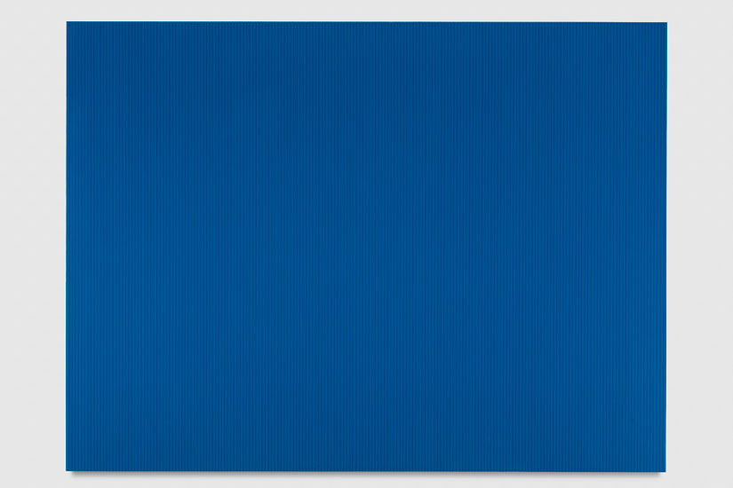 Untitled (Peacock Blue Polyurethane), 2017 enamel, single-strand rayon thread and linear polyurethane on wood 91,5 x 122 cm - 36 x 48 inches