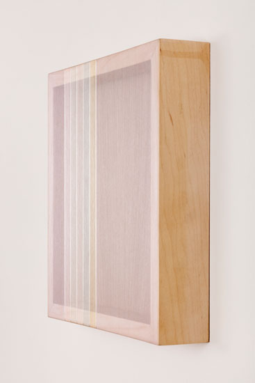 Untitled (White Hovering Thread), 2017 single-strand rayon and metallic thread on vertical grain oak 30,5 x 30,5 cm - 12 x 12 inches