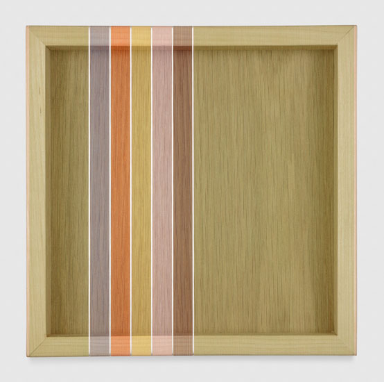 Untitled (Avocado Green Hovering Thread), 2017 single-strand rayon and metallic thread on vertical grain oak 30,5 x 30,5 cm - 12 x 12 inches