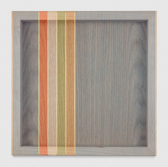 Untitled (Steel Blue Hovering Thread), 2017 single-strand rayon and metallic thread on vertical grain oak 30,5 x 30,5 cm - 12 x 12 inches