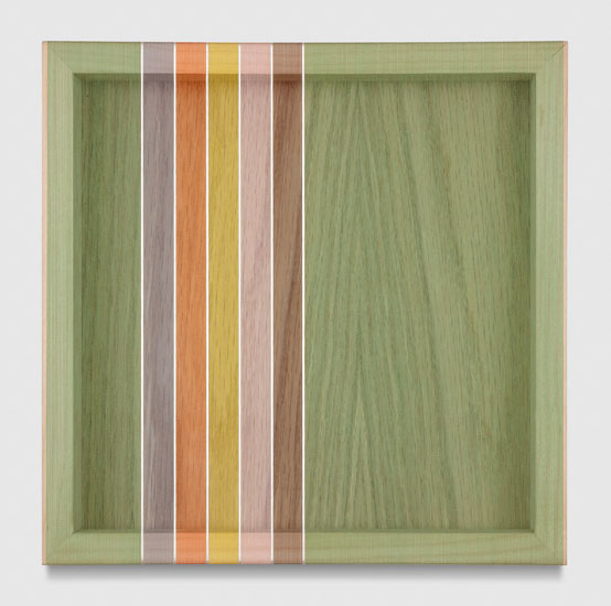 Untitled (Lime Green Hovering Thread), 2017 single-strand rayon and metallic thread on vertical grain oak 30,5 x 30,5 cm - 12 x 12 inches