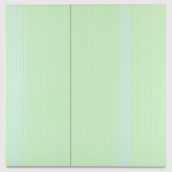 Untitled (White and Neon Green Polyurethane), 2017 enamel, single-strand rayon thread and linear polyurethane on wood 122 x 122 cm - 48 x 48 inches