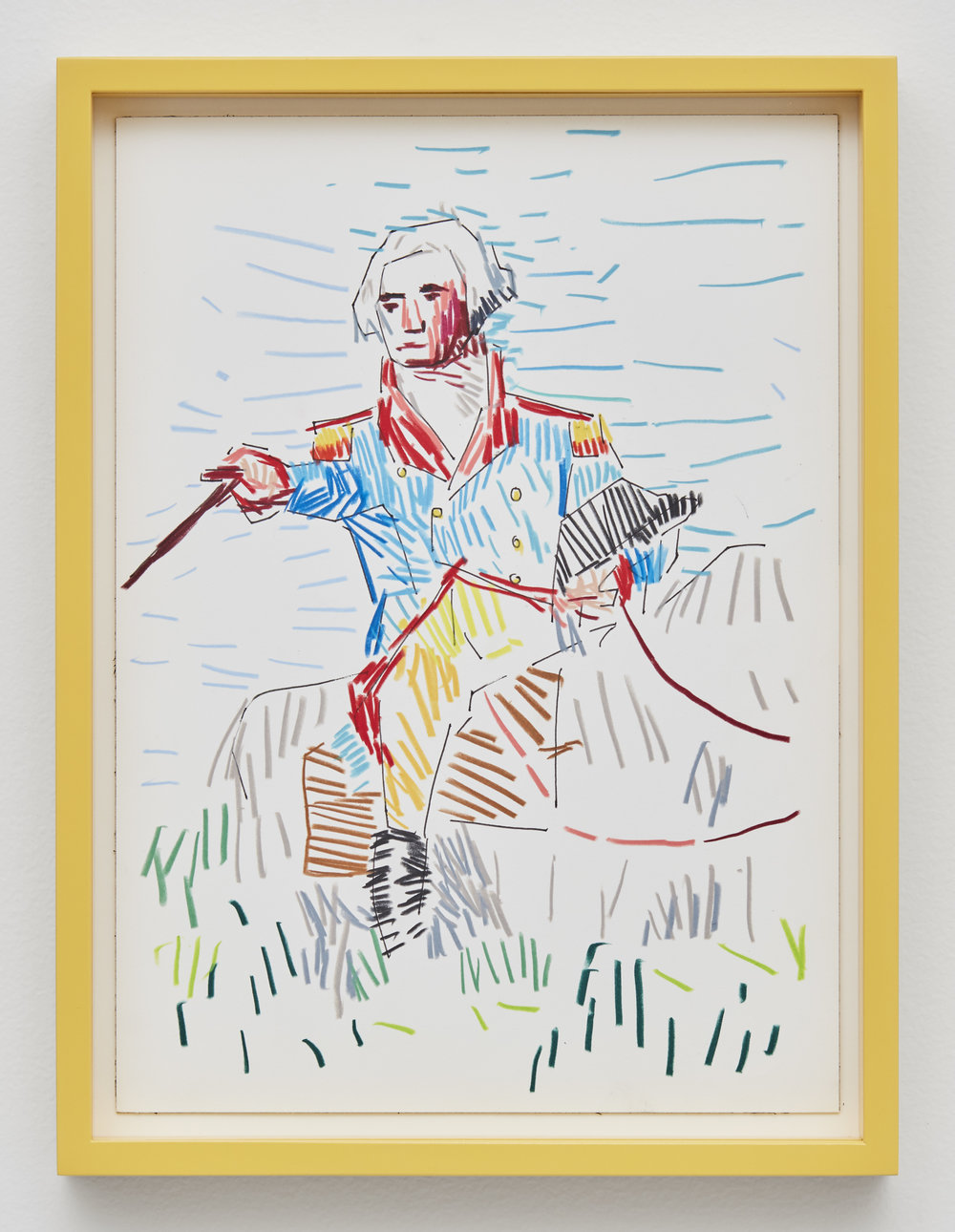 George Washington, 2017 colored pencil and ink on paper 40 x 30 cm - 15 3/4 x 11 13/16 inches (framed)