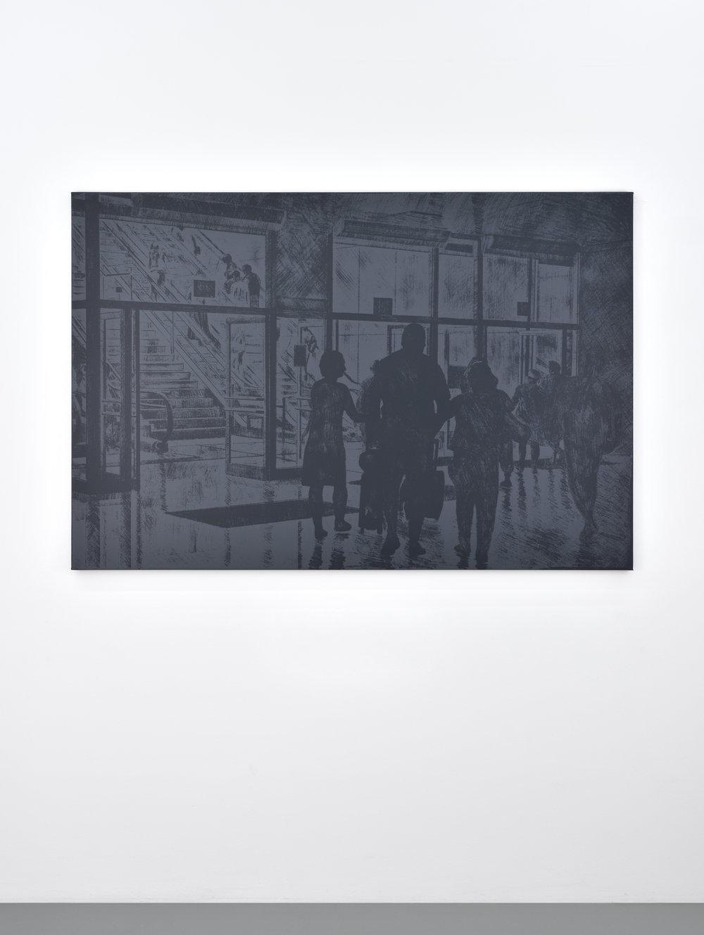 Untitled (escalator), 2017 silkscreen on canvas 106,7 x 158 cm - 42 x 62 1/4 inches