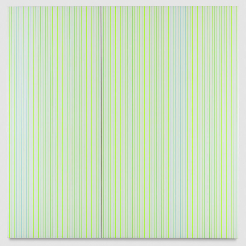 Untitled (White and Neon Green Polyurethane), 2017 enamel, single-strand rayon thread and linear polyurethane on wood 121,9 x 121,9 cm - 48 x 48 in