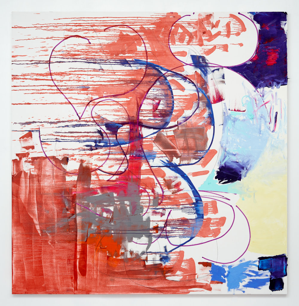 Strings and hollow stones , 2017 oil and graphite on canvas 82 x 80 in - 208,3 x 203,2 cm