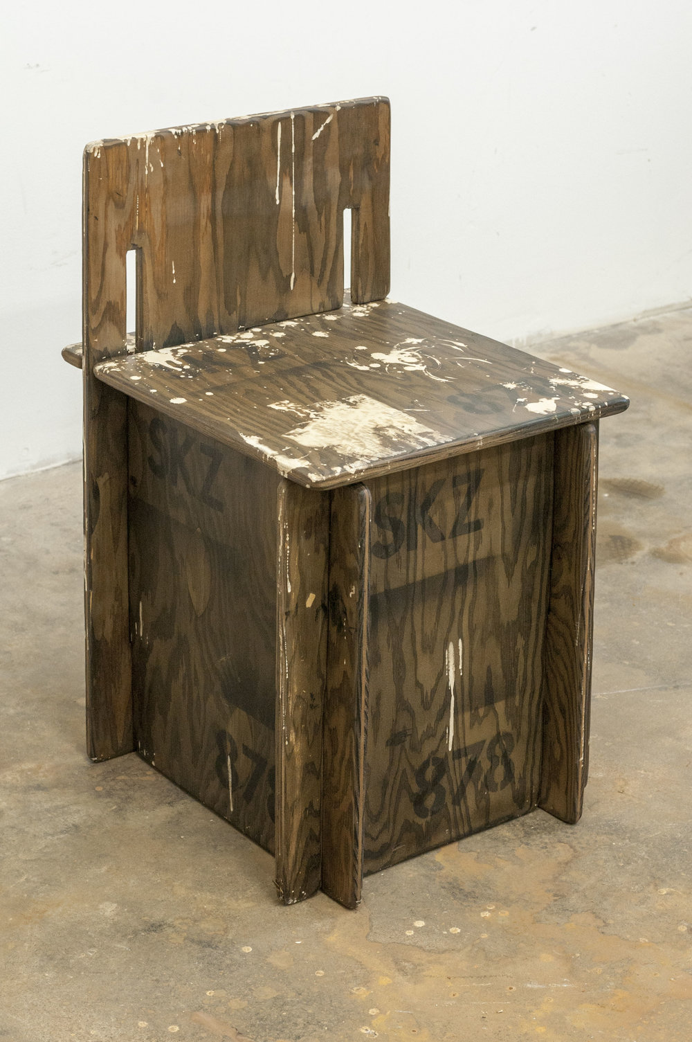 Dan Levenson  SKZ Student Chair Number 878 , 2016 wood, oil 74 x 49 x 43 cm 29 1/8 x 19 9/32 x 16 15/16 inches