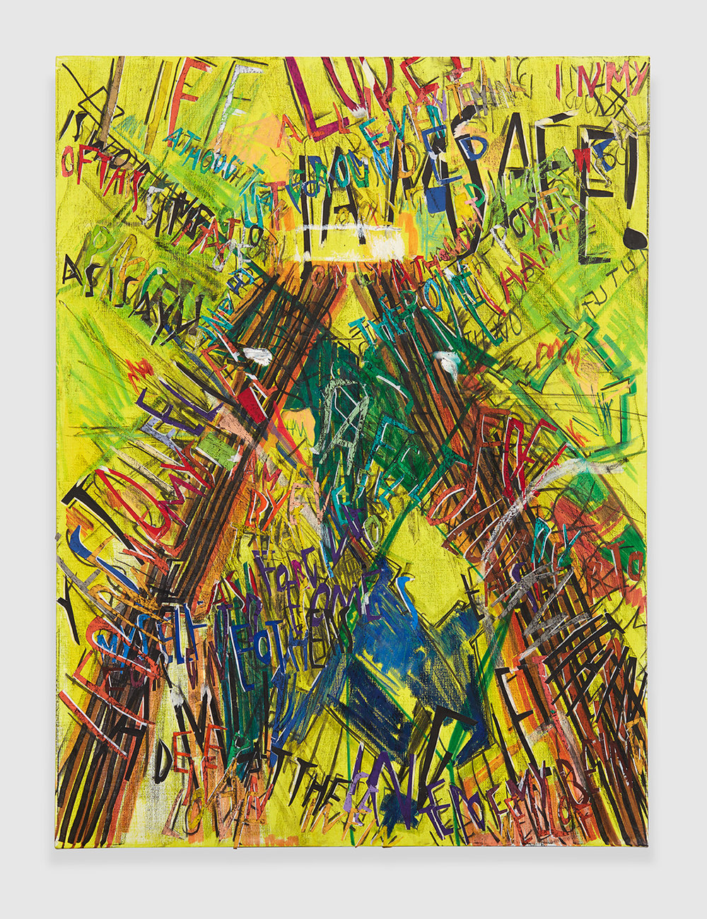 RGB Affirmations (Yellow) , 2018 acrylic, marker, oil stick, oil, charcoal and paper collage on linen 48 x 36 in - 121,9 x 91,4 cm