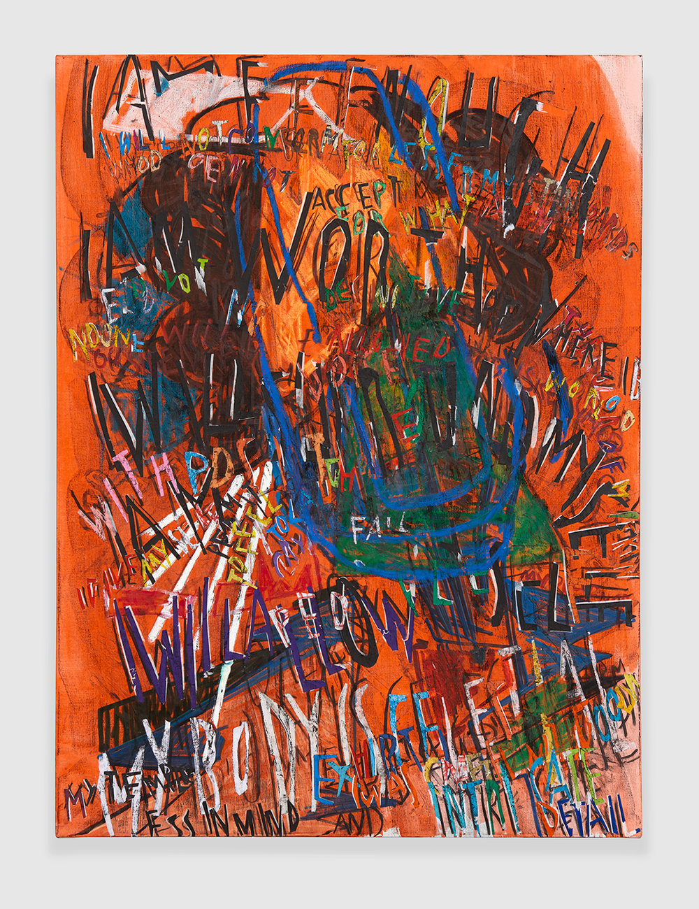 RGB Affirmations (Orange) , 2018 acrylic, marker, oil stick, oil, charcoal and paper collage on linen 48 x 36 in - 21,9 x 91,4 cm