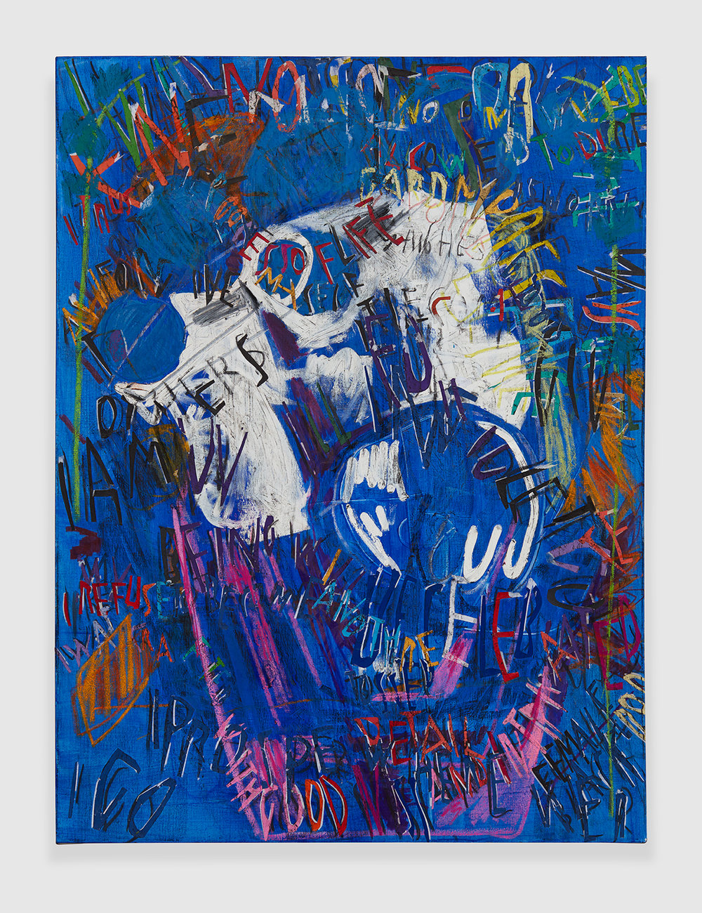 RGB Affirmations (Blue) , 2018 acrylic, marker, oil stick, oil, charcoal and paper collage on linen 48 x 36 in - 121,9 x 91,4 cm