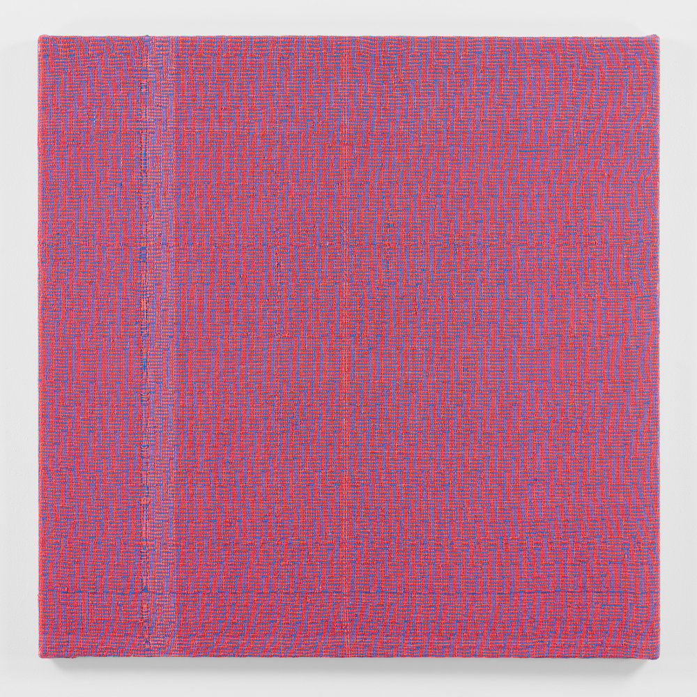 Shadow Weave Fluorescent Red + Smoky Blue (33) 8/4 Cotton 15 EPI, 2018 acrylic on 8/4 cotton yarn 48 1/4 x 48 1/4 in (122,6 x 122,6 cm)