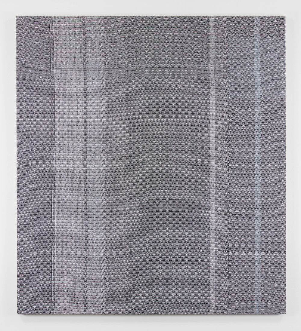 Shadow Weave Black (13) + White (14) 8/4 Cotton 15 EPI, 2014 acrylic on 8/4 cotton yarn on wood panel  82 x 74 in  (208,3 x 188 cm)
