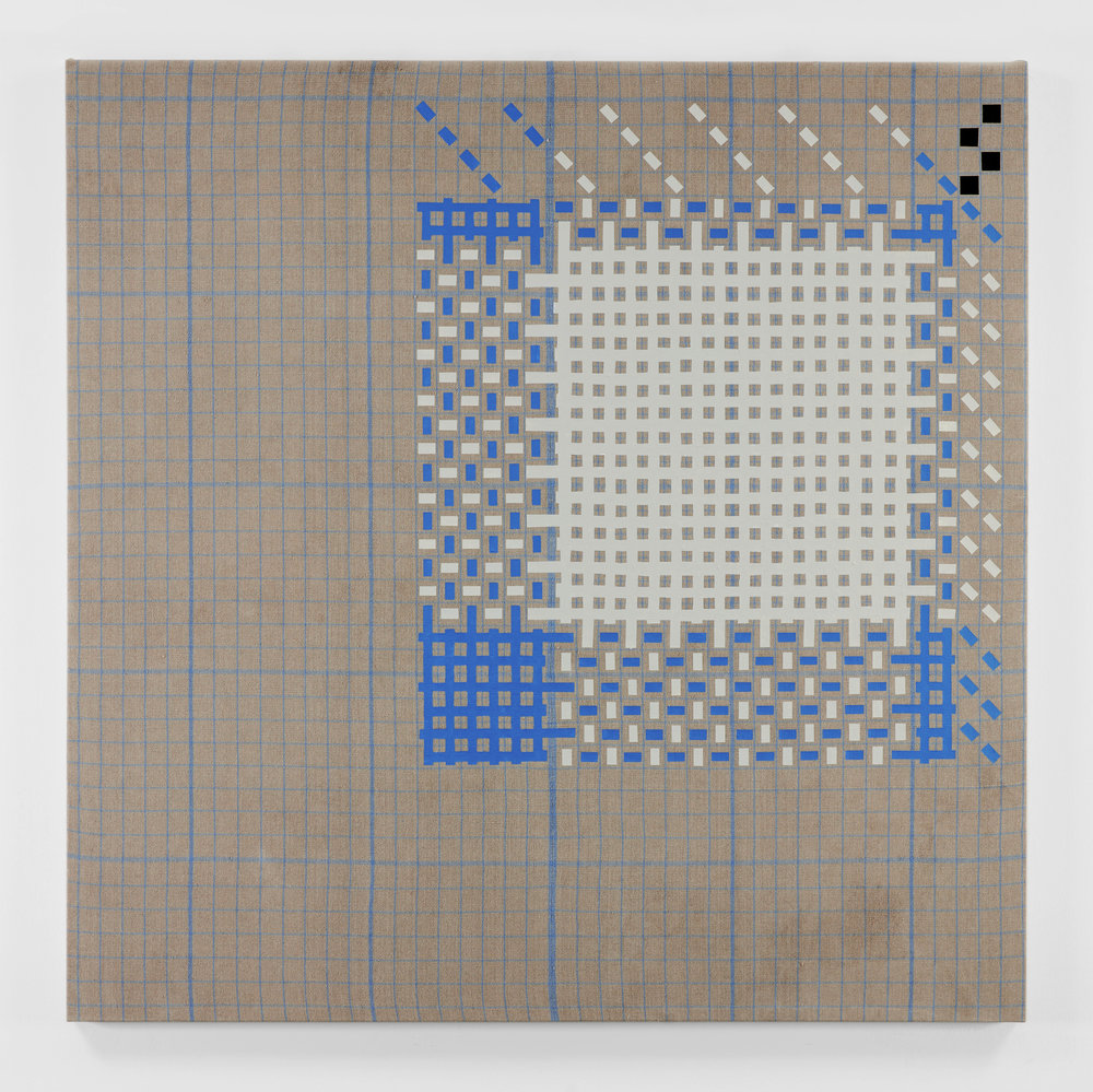 Plain Weave Draft on Plain Weave Graph on Natural(00) and Copenhagen(731), 2018  acrylic on plain weave woven 16/2 linen  72 x 72 in (182,9 x 182,9 cm)