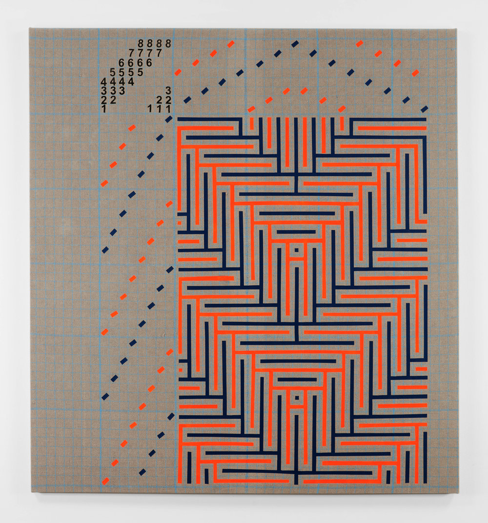 Fluorescent Orange and Navy Blue Shadow Weaving Draft, 2018 acrylic on plain weave woven 16/2 linen  80 x 74 in (203,2 x 188 cm)