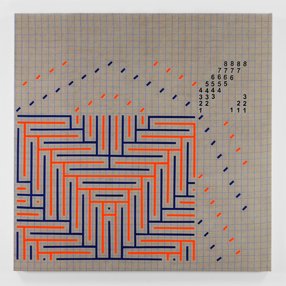 Fluorescent Orange and Navy Blue Shadow Weaving Draft Graph, 2015 acrylic on plain weave woven 16/2 linen  72 x 72 in (182,9 x 182,9 cm)