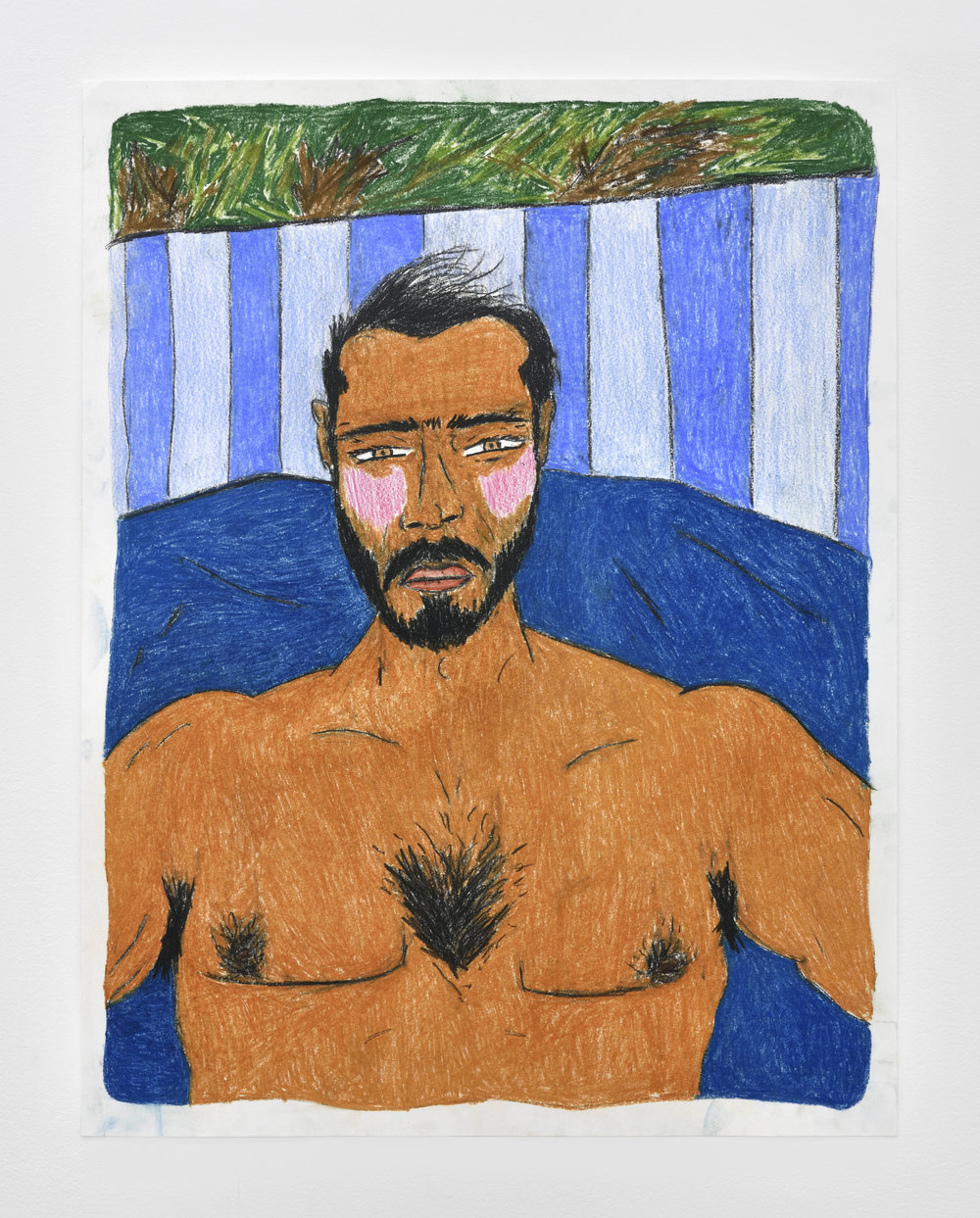 Bed work  2017-2018 color pencil on paper 71 x 55 cm - 27 15/16 x 21 21/32 inches