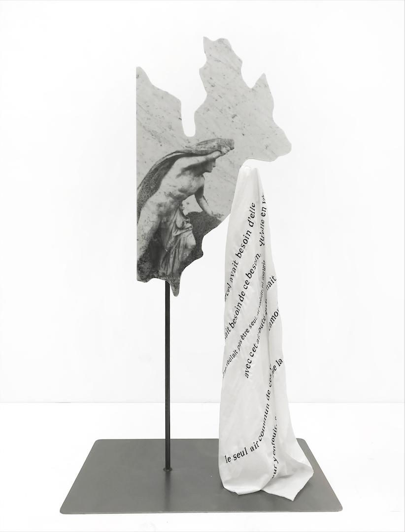 Alice Guittard  Ce que la solitude et la nuit nous montrent d'effrayant , 2018 photosensitive emulsion, marble, metal, stainless steel, hydrophobic fabric variable dimensions