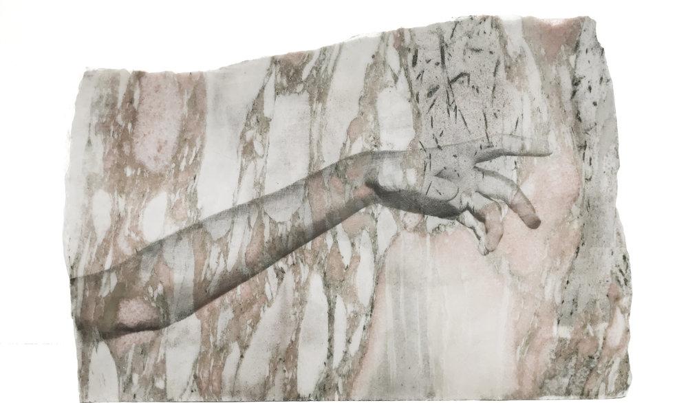 Alice Guittard  La main de Lou , 2018 photosensitive emulsion on marble, graphite 49 x 33 x 2,5 cm 19 9/32 x 13 x 1 inches