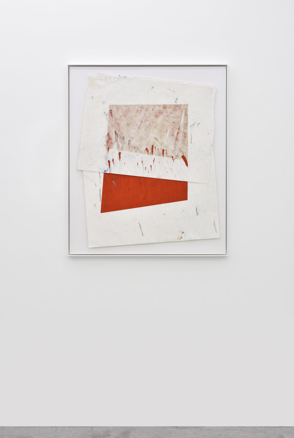 Vincent Chenut  Composition with one red rectangle , 2017 Oil sticks on paper 107 x 98 cm 42 1/8 x 38 19/32 inches