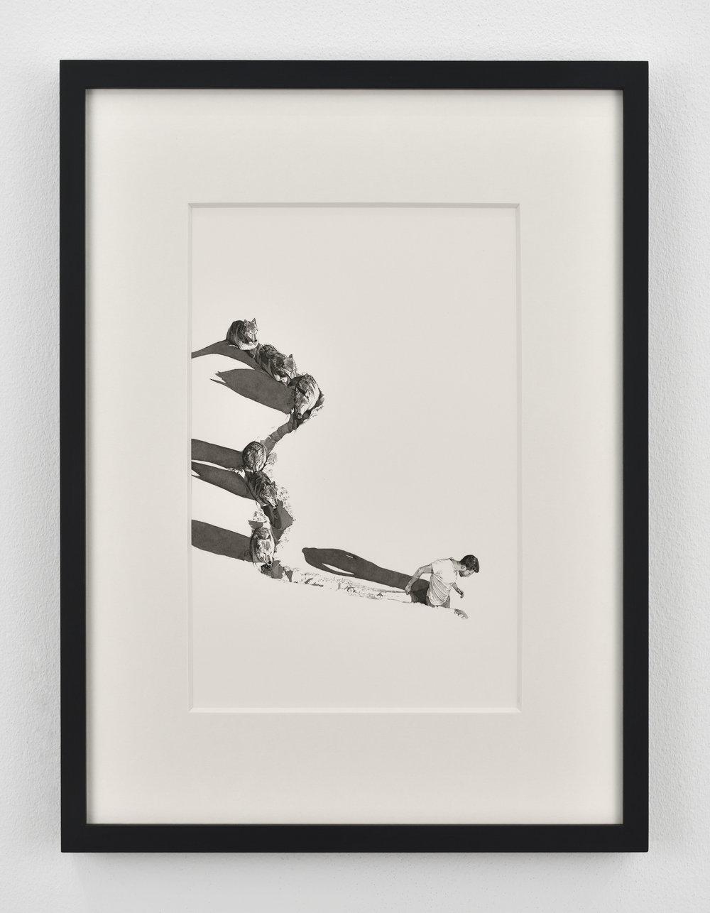 Fabien Mérelle  Jamais seul  2018 ink and watercolor on paper 21 x 29,7 cm 8 9/32 x 11 11/16 inches