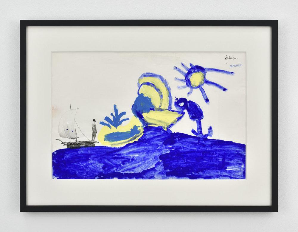 Fabien Mérelle  Radeau, baleine, bateau, soleil, mer  1985/2018 ink, watercolor, acrylic on paper 47 x 65 x 3 cm 18 1/2 x 25 19/32 x 1 3/16 inches