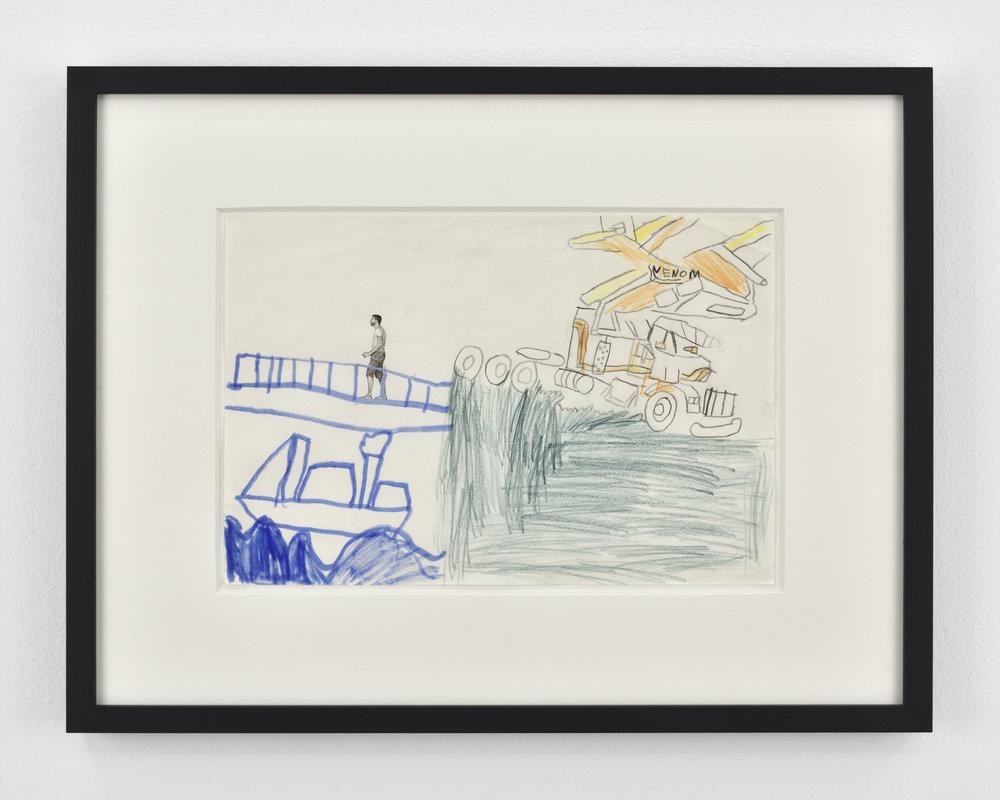 Fabien Mérelle  Le pont  1987/2018 ink, watercolor, pencil and marker on paper 37,5 x 46 x 3 cm 14 3/4 x 18 1/8 x 1 3/16 inches
