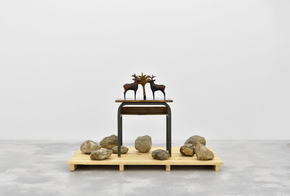 Desert Storm, 2015 wood, stones, school desk 120 x 80 x 100 cm - 47 1/4 x 31 1/2 x 39 3/8 inches